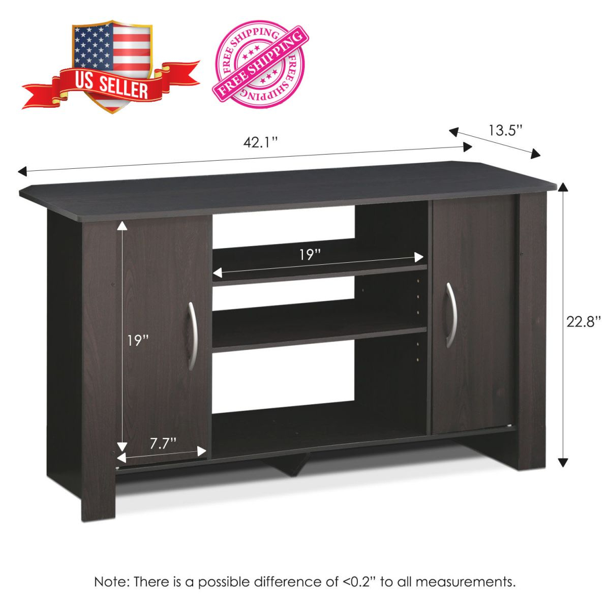 Details About Furinno Tv Stand Modern Stylish Entertainment Center Wood Unit Console Espresso throughout Stylish Tv Unit
