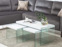Details About Modern White 3-Piece Glass Side End Table Set Coffee Table Living Room Furniture within White Living Room Furniture Sets