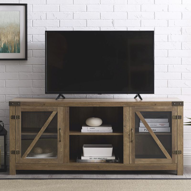 Details About Tv Stand Glass Cabinet Doors Farmhouse Barn Door Tv Stand Entertainment Unit with Stylish Tv Unit