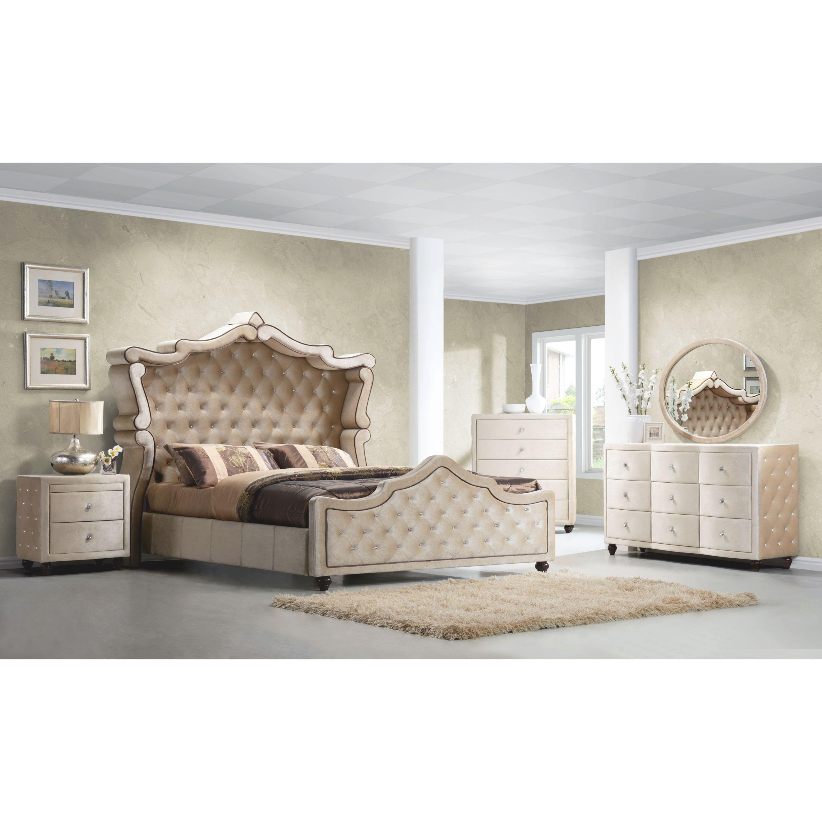 Diamond Canopy Golden Beige Velvet Tufted 5-Piece Bedroom ...
