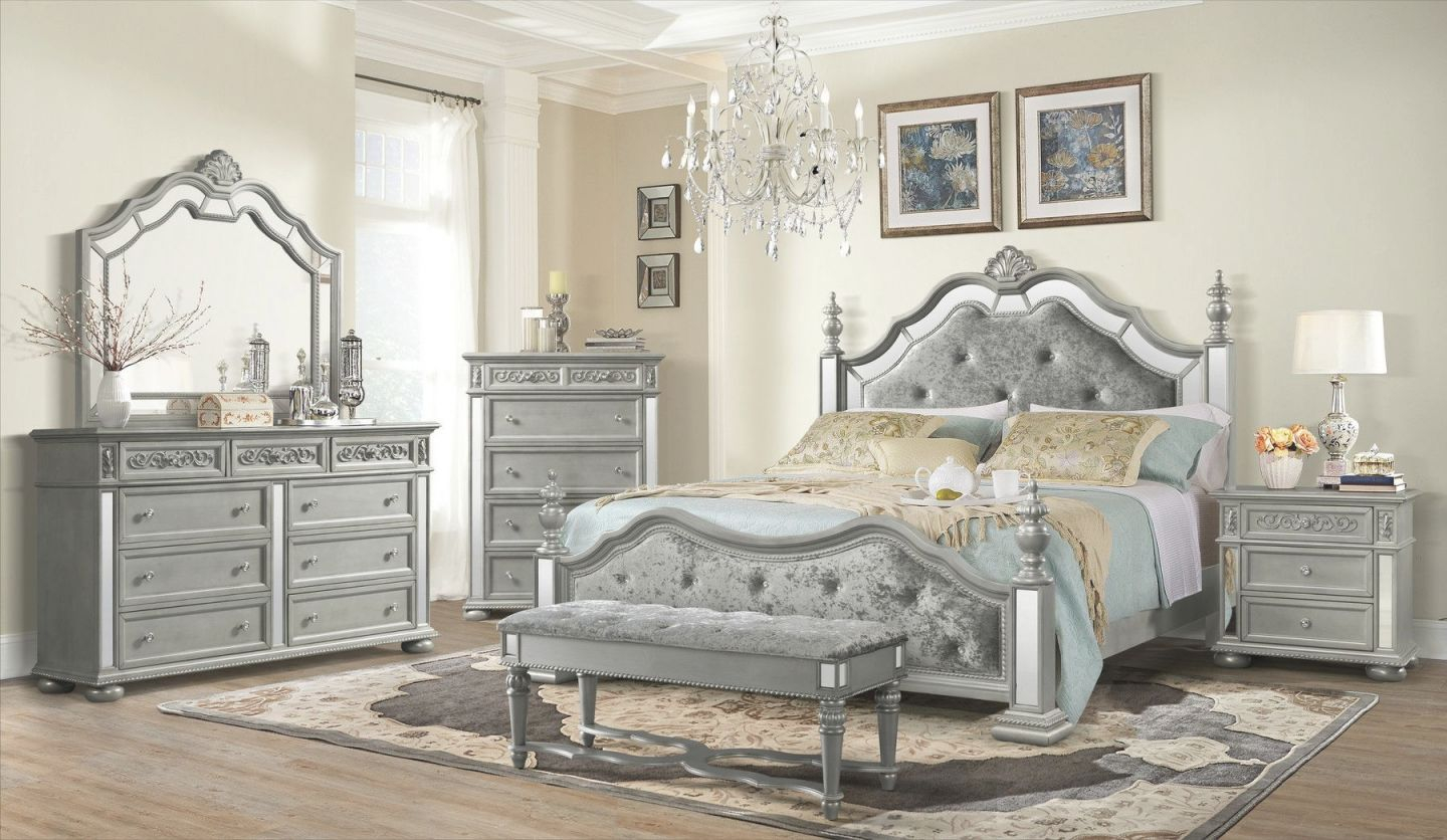 Diana Silver Queen Set Queen Size B,2Ns,dr,mr intended for Queen Size Bedroom Furniture Sets