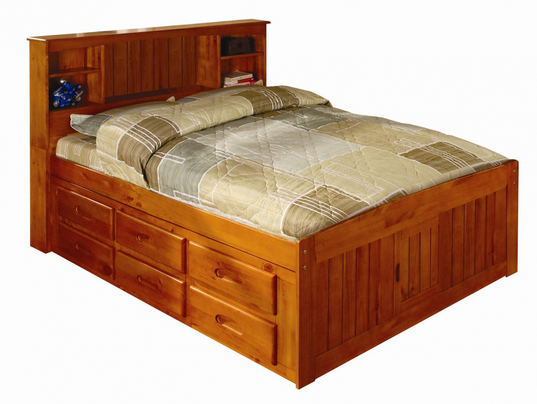Discovery World Furniture Honey Full Captain Bed With Desk, Hutch, Chair,  And 5 Drawer Chest throughout Bedroom Set With Desk