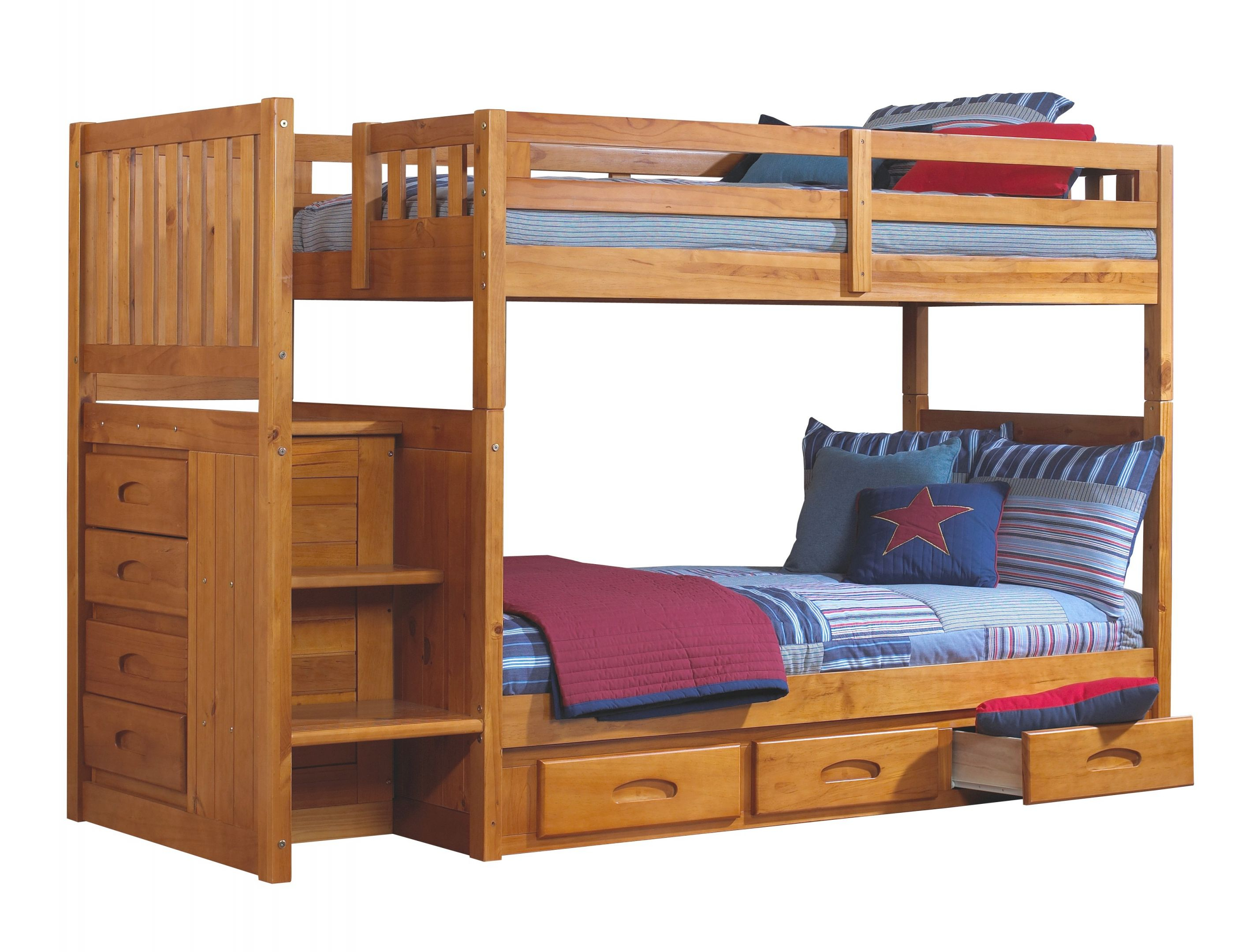 Discovery World Furniture Twin Over Twin Honey Mission Staircase Bunk Beds With Desk, Hutch, Chair, And Bookcase regarding Luxury Twin Bedroom Furniture Set