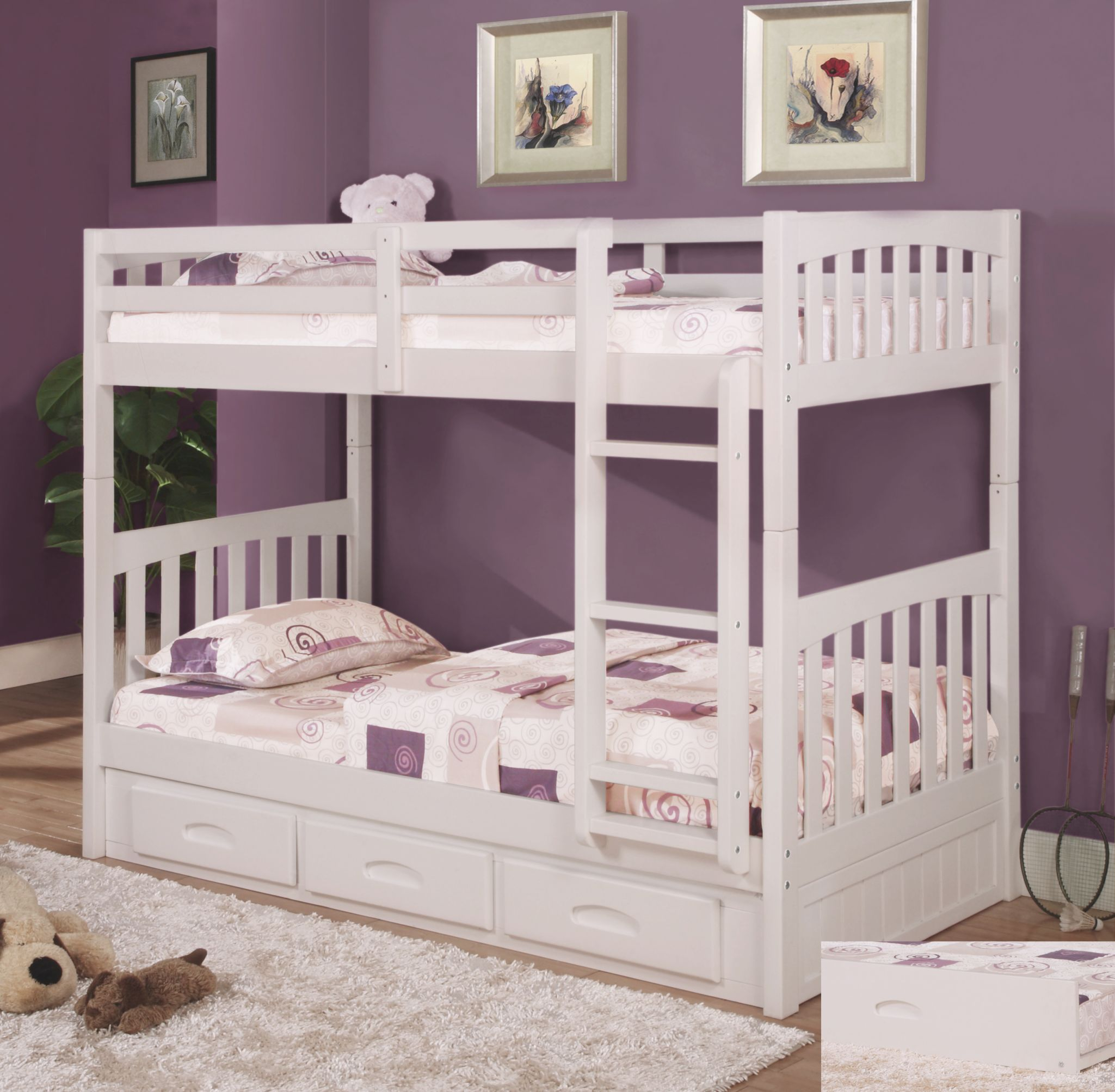 Discovery World Furniture Twin Over Twin White Mission Bunk Bed with Twin Bedroom Furniture Set