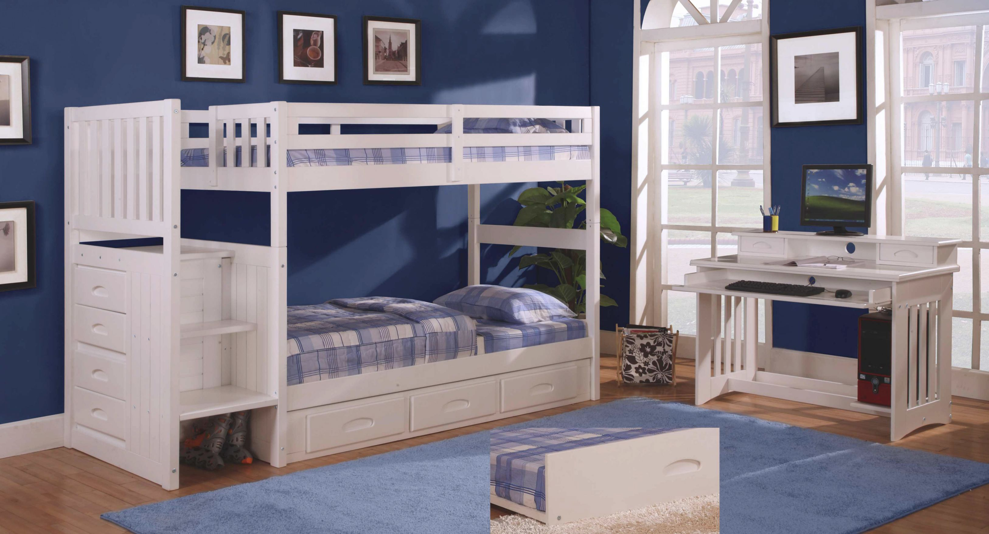 Discovery World Furniture Twin Over Twin White Staircase Bunk Bed Set With  5 Drawer Chest, Desk, Hutch, And Chair with regard to Bedroom Set With Desk