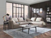 Divani Casa Polson Modern Modular Light Grey Fabric Sectional Sofa Bed with Modular Living Room Furniture
