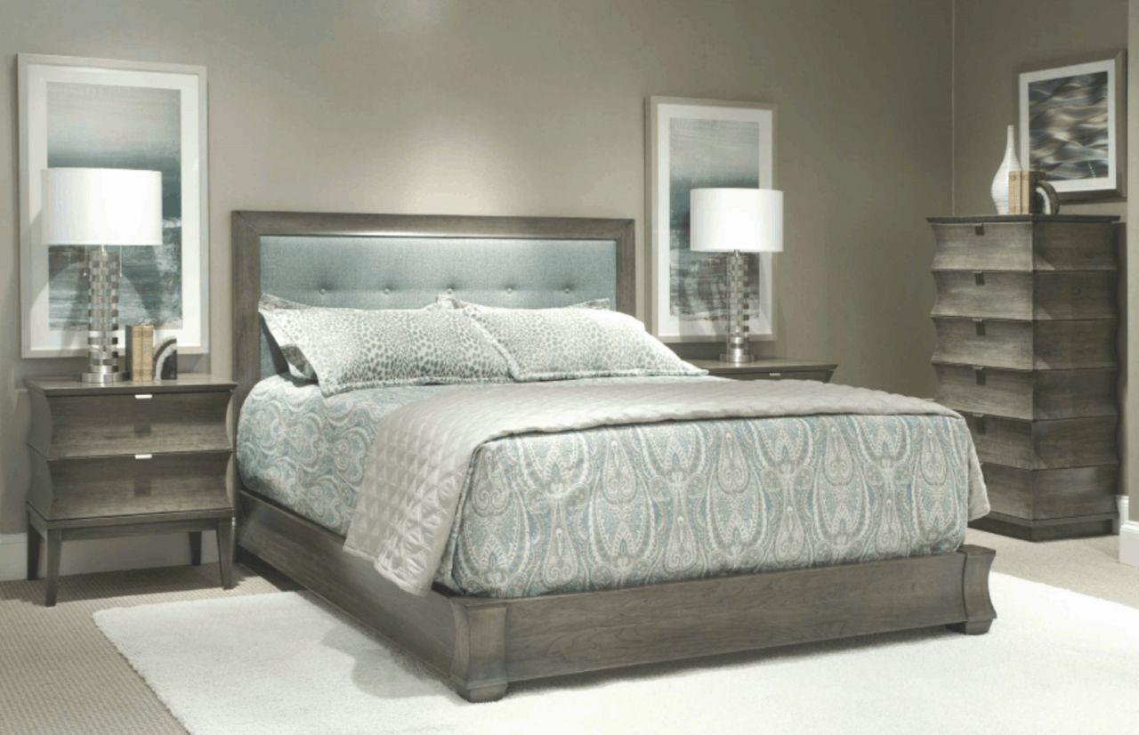 Durham Furniture Cascata 4-Piece Upholstered Bedroom Set In Coastal Fog with regard to Coastal Bedroom Furniture Sets