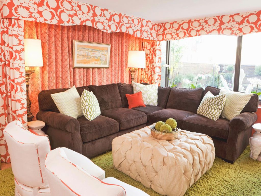 Eclectic Living Room With Coral Curtains | Hgtv for Best of Curtains For Living Room With Brown Furniture