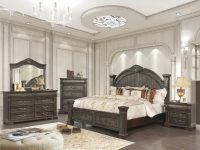 Elegant Style Walnut Finish Carve Queen Size 4Pc Master Bedroom Furniture Set intended for New Queen Bedroom Furniture Set
