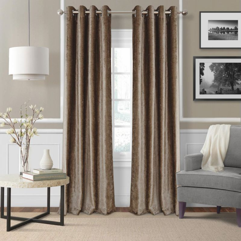Elrene Victoria Velvet Room Darkening Window Curtain throughout Curtains For Living Room With Brown Furniture