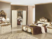 Esf Furniture Barocco 4-Piece Panel Bedroom Set In Ivory W/ Gold in Gold Bedroom Furniture Sets