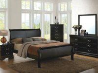 Est King Size Master Bedroom Furniture Set Solid Wood Veneer Black Finish Bed in Black Bedroom Furniture Set