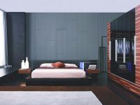 Exclusive Leather Designer Bedroom Set With Blue Light in Elegant Black Bedroom Furniture Set