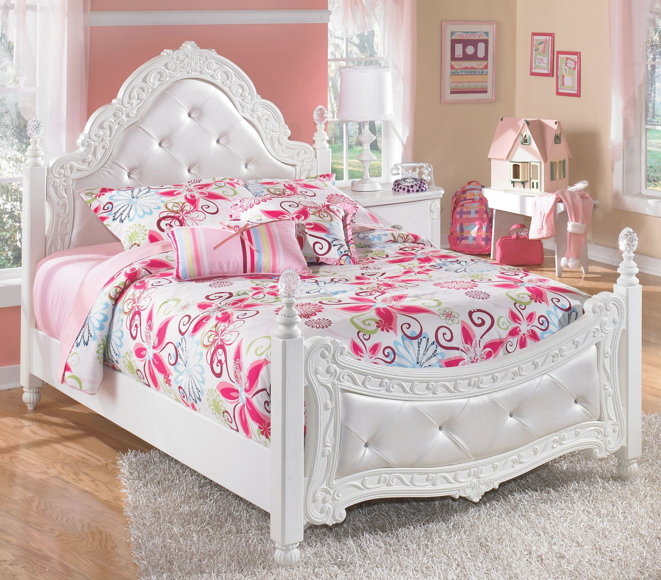 Exquisite Full Ornate Poster Bed With Tufted Headboard & Footboard Signature Designashley At Royal Furniture in Luxury Full Size Bedroom Furniture Sets