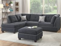 F6974 Black 3 Pcs Sectional Sofa Setpoundex throughout 3 Piece Sectional Sofa
