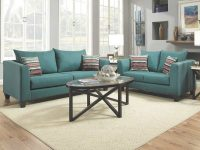 Factory Select Sofa & Loveseat Collection in Elegant Teal Living Room Furniture