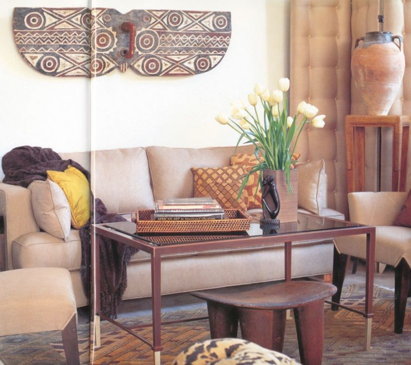 Fancy Contemporary Apartment With African Decorations That intended for African Decor Living Room