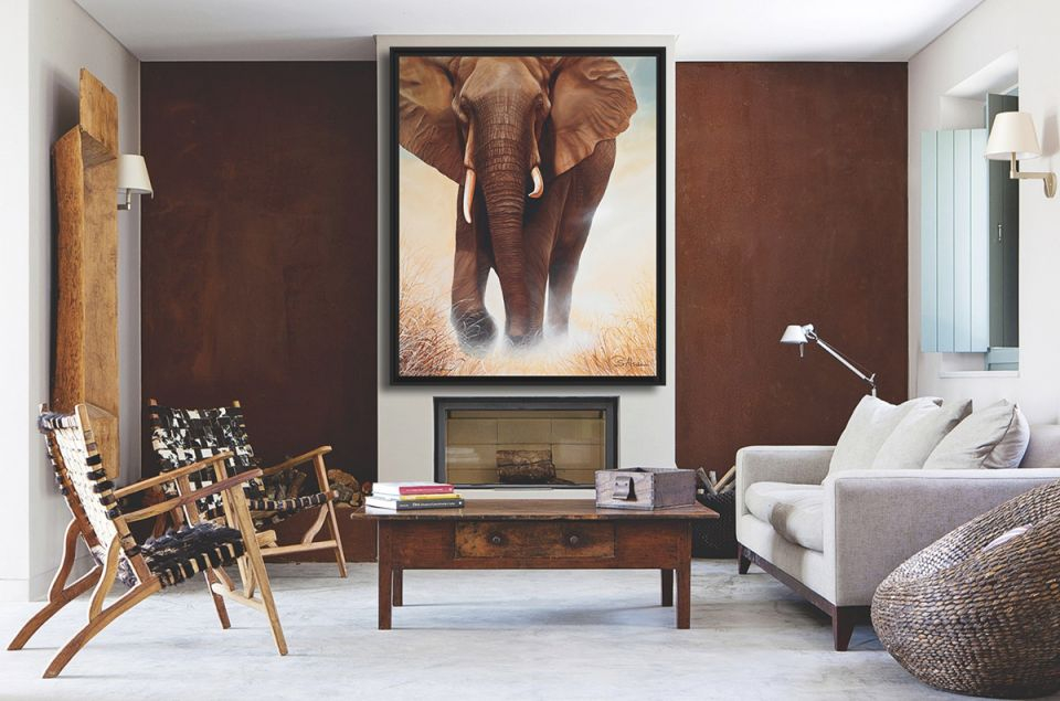 Fashionable-Decorating-African-Living-Room-Painting-Elephant with Best of African Decor Living Room