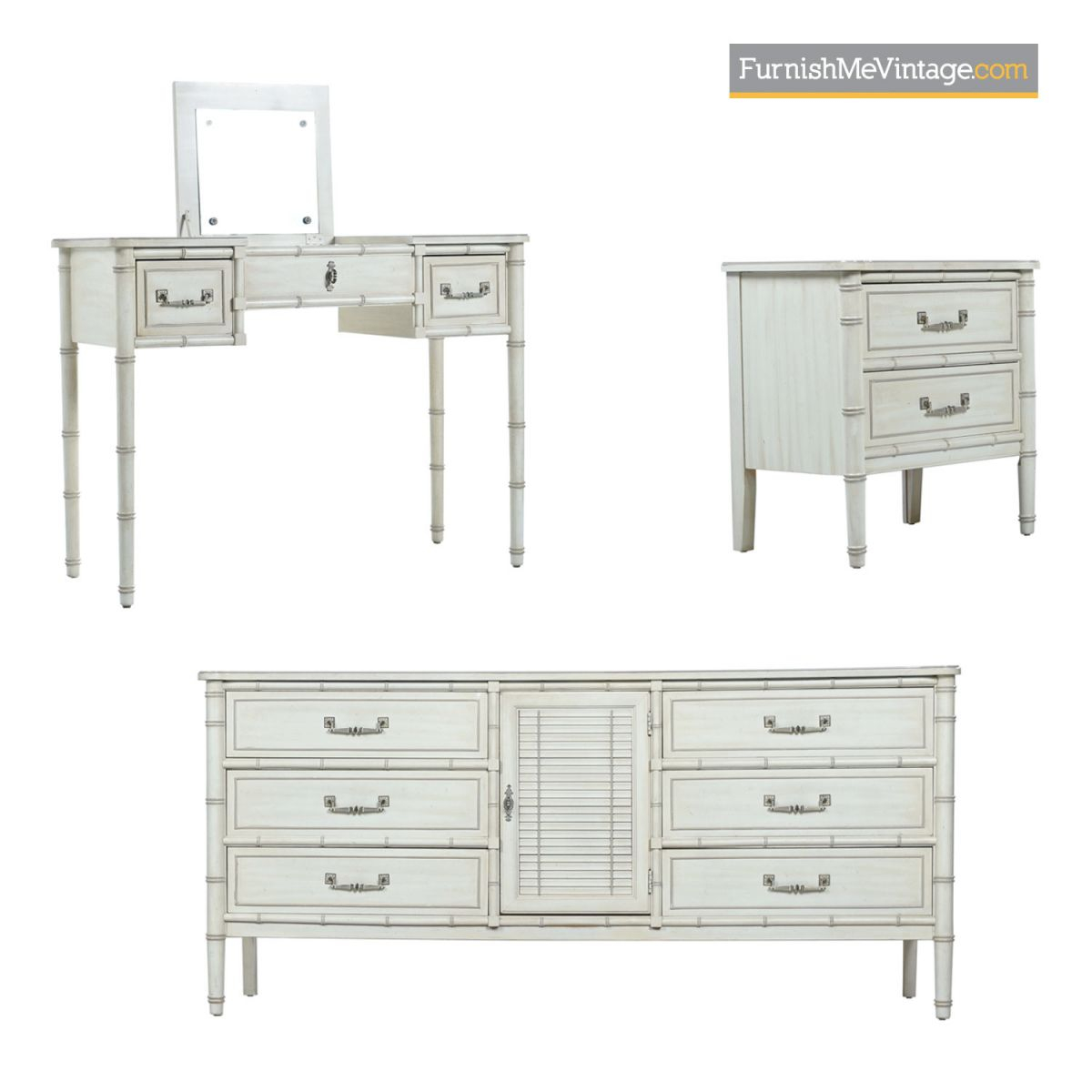 Faux Bamboo Bedroom Set - White Washed Dorothy Draper Style throughout Fresh Bedroom Set With Vanity