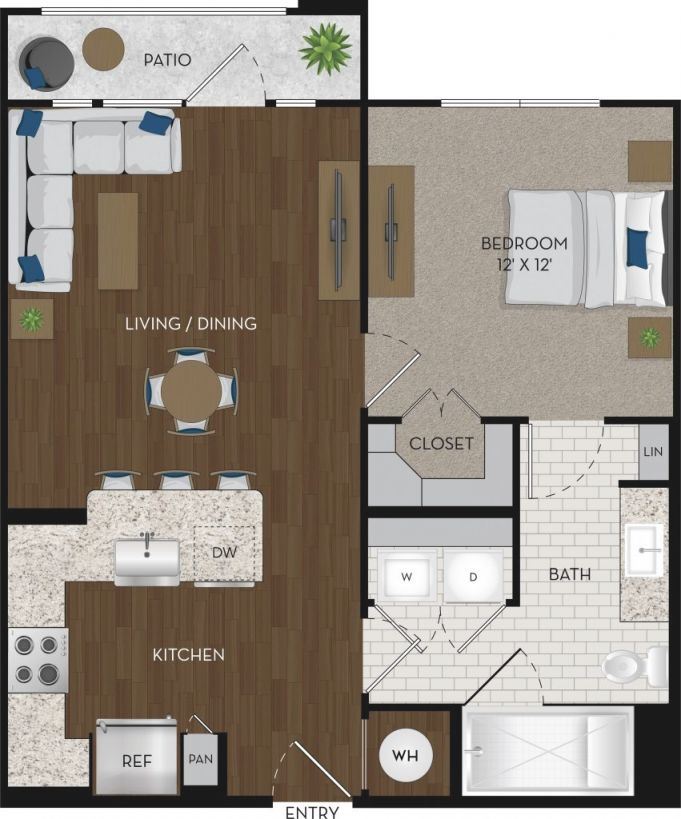 Featured Floorplan: A1 One Bedroom Apartment In Houston within One Bedroom Apartment Floor Plans