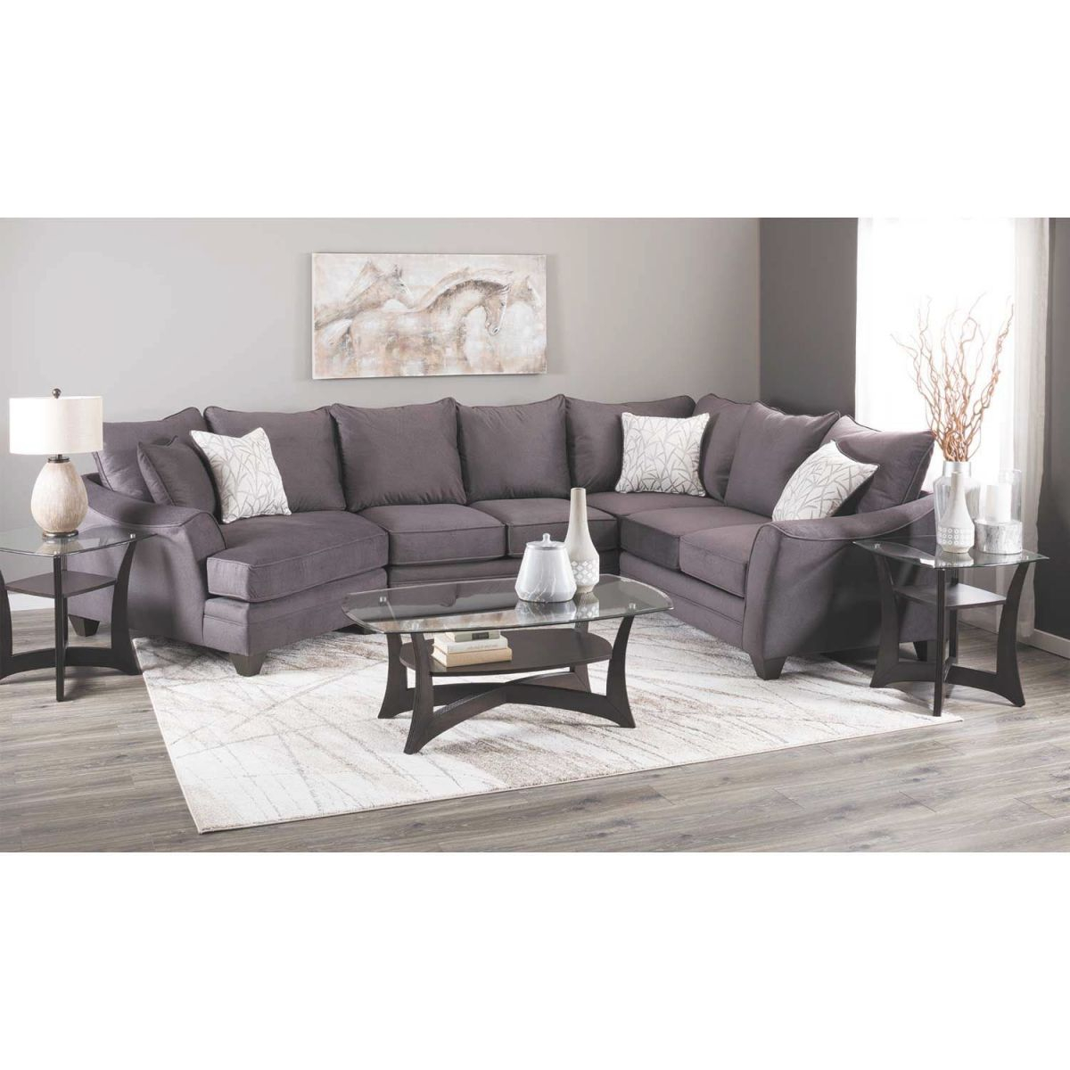 Flannel Seal 3 Piece Sectional With Raf Cuddler inside Lovely 3 Piece Sectional With Cuddler