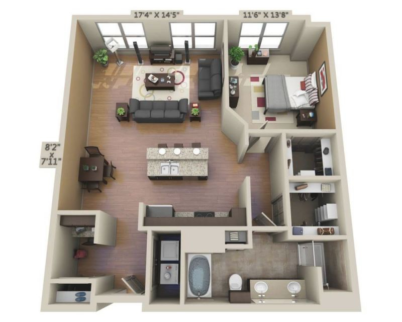 Floor Plans And Pricing For Domain College Park | College for One Bedroom Apartment Floor Plans