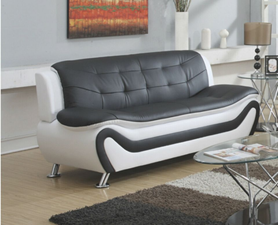 Frady Black And White Faux Leather Modern Living Room Sofa intended for Elegant Living Room Furnitures