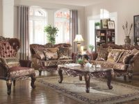 French Provincial Living Room Set 685 In Brown Fabric throughout New French Provincial Living Room Furniture