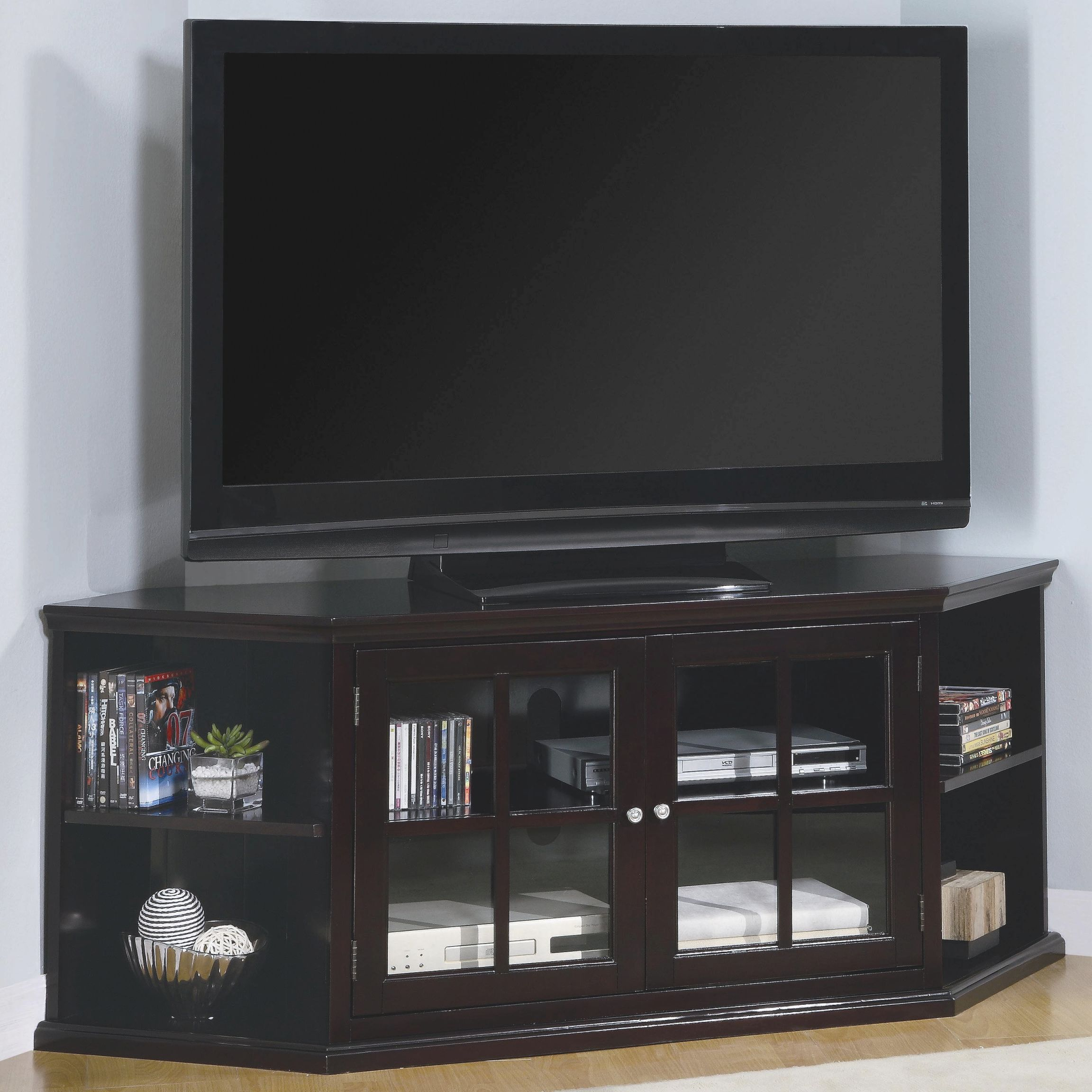 Fullerton Transitional Corner Media Unit With Glass Doorscoaster At Value City Furniture regarding Awesome Stylish Tv Unit