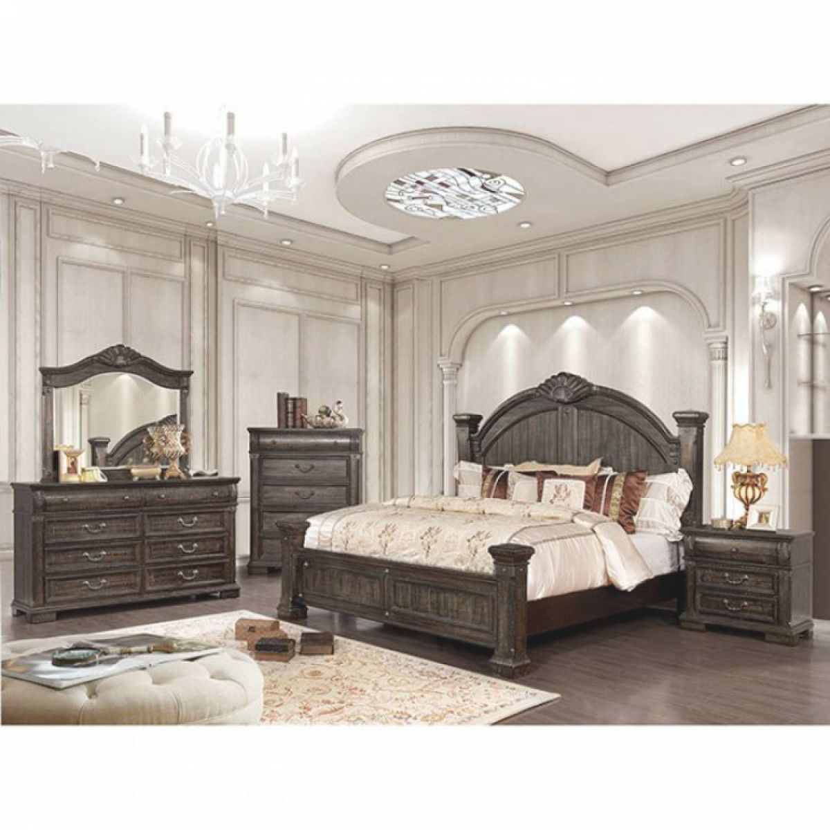 Genevieve Cal.king Bedroom Set Cm7428Kw-Gr with regard to Bedroom Sets King