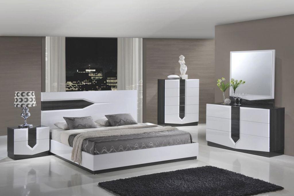 Global Furniture Hudson 4-Piece Platform Bedroom Set In Zebra Grey/ White for Beautiful Cheap White Bedroom Furniture Sets