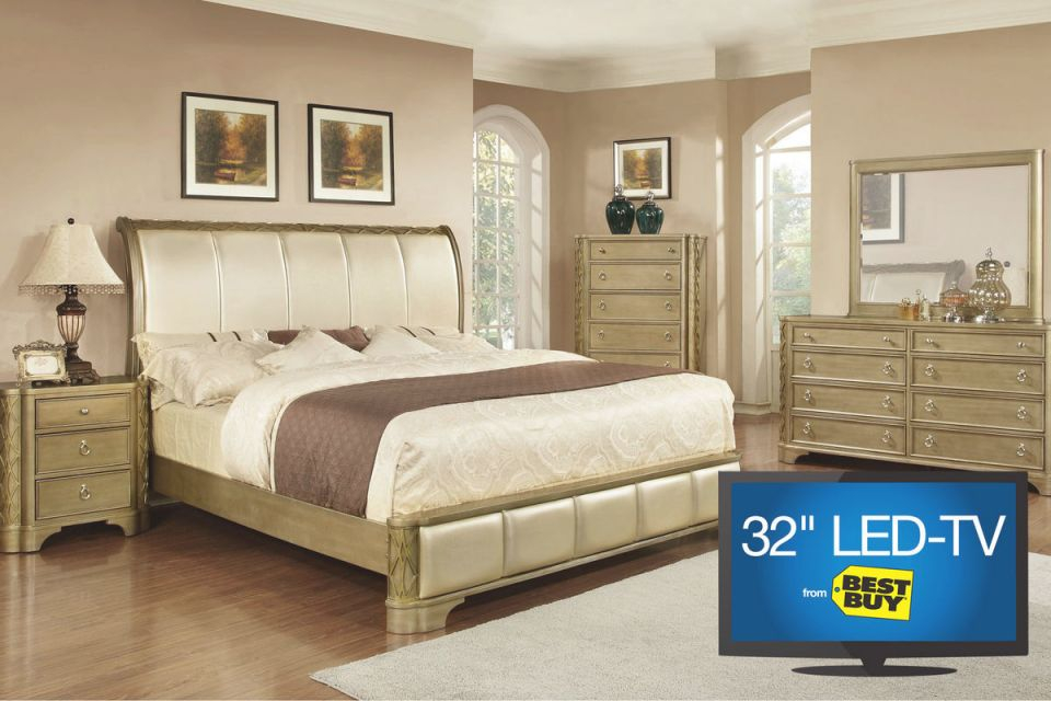 """Golden 5-Piece Queen Bedroom Set With 32"""" Led-Tv throughout Luxury Full Size Bedroom Furniture Sets"""
