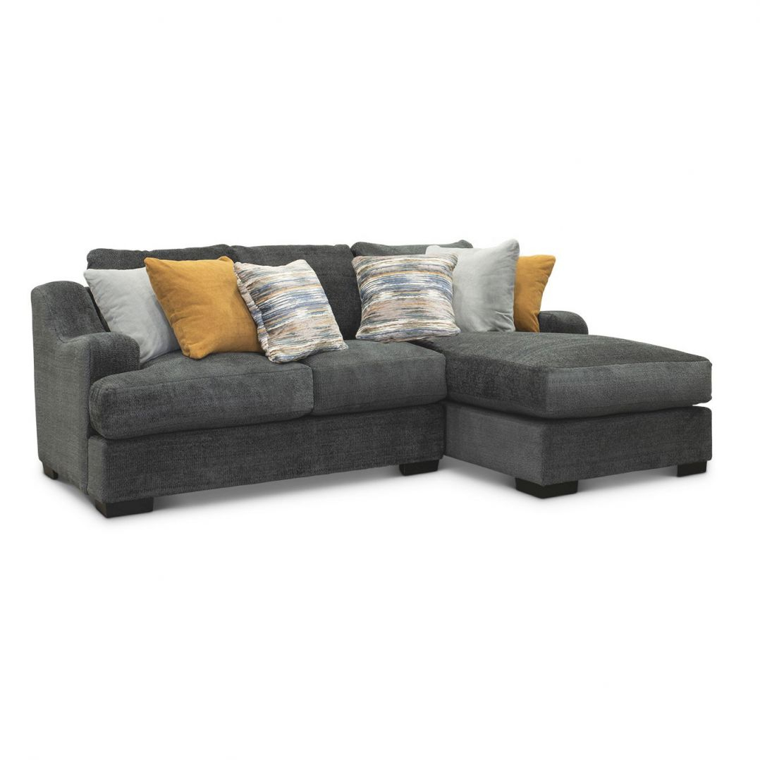 Gray 2 Piece Sectional Sofa With Raf Chaise – Challenger regarding Elegant 2 Piece Sectional With Chaise