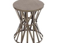 Gray Caged Hourglass Metal Accent Table for Accent End Tables