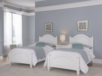 Home Styles Furniture Bermuda White 2 Twin Beds And Night Stand with Luxury Twin Bedroom Furniture Set