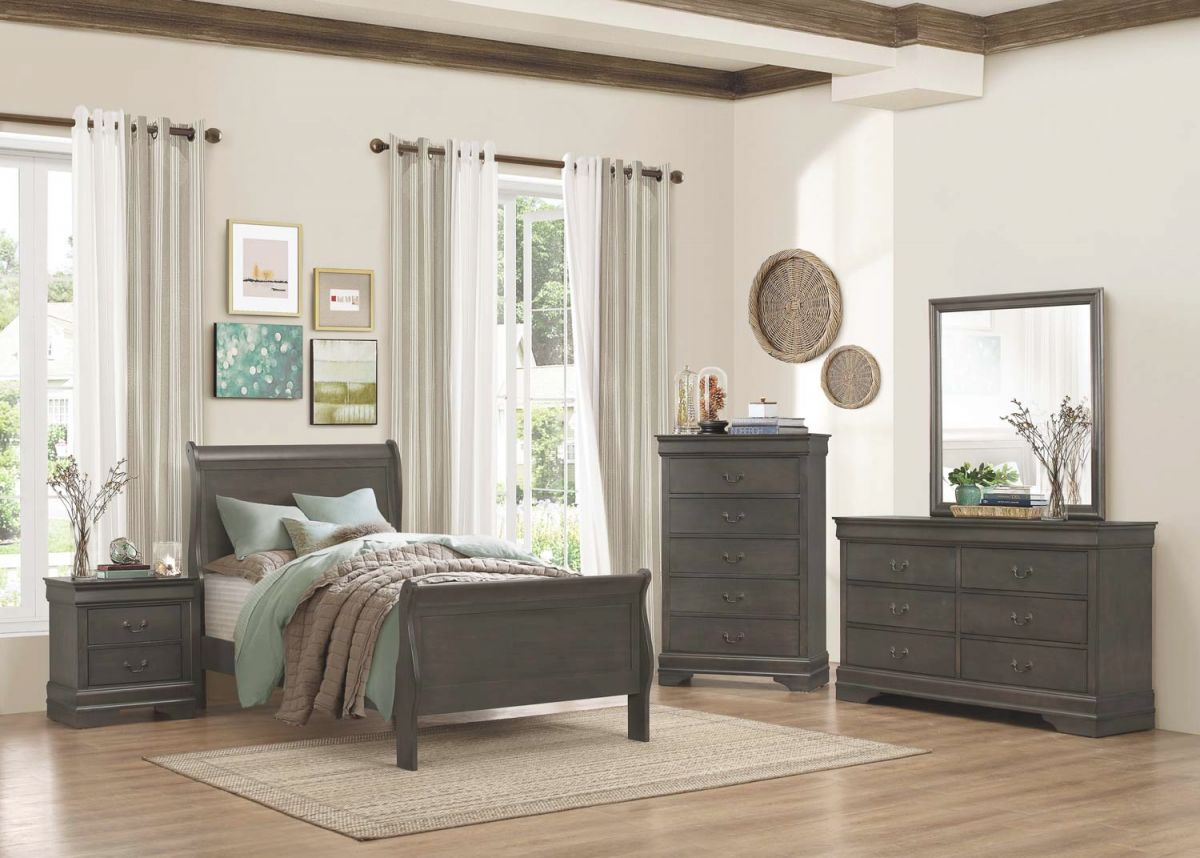 Homelegance Mayville 5Pc Grey Twin Bedroom Group throughout Luxury Twin Bedroom Furniture Set