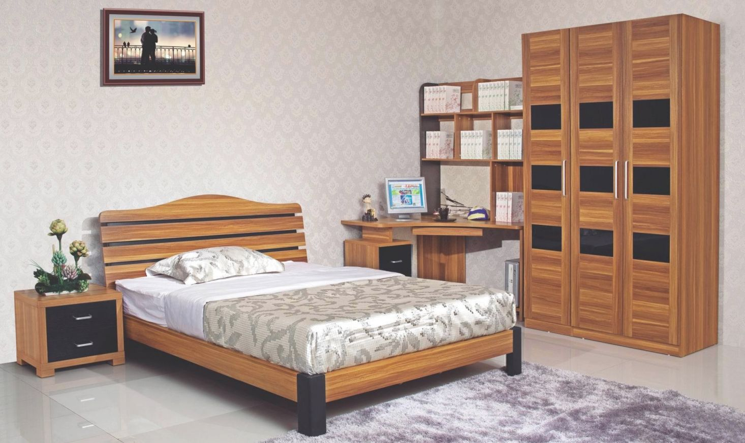 [Hot Item] 5Pcs Durable Wooden Bedroom Set With Corner Study Desk (Hh21Bt) within Bedroom Set With Desk