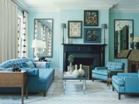 House Interior With Monochromatic Color Schemes | Decor In in Turquoise Living Room Furniture