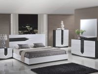 Hudson Zebra Grey & White Glossy Bedroom Setglobal Furniture throughout Elegant Furniture Bedroom Set