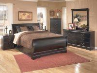 Huey Vineyard 4-Piece Sleigh Bedroom Set In Black with Elegant Black Bedroom Furniture Set