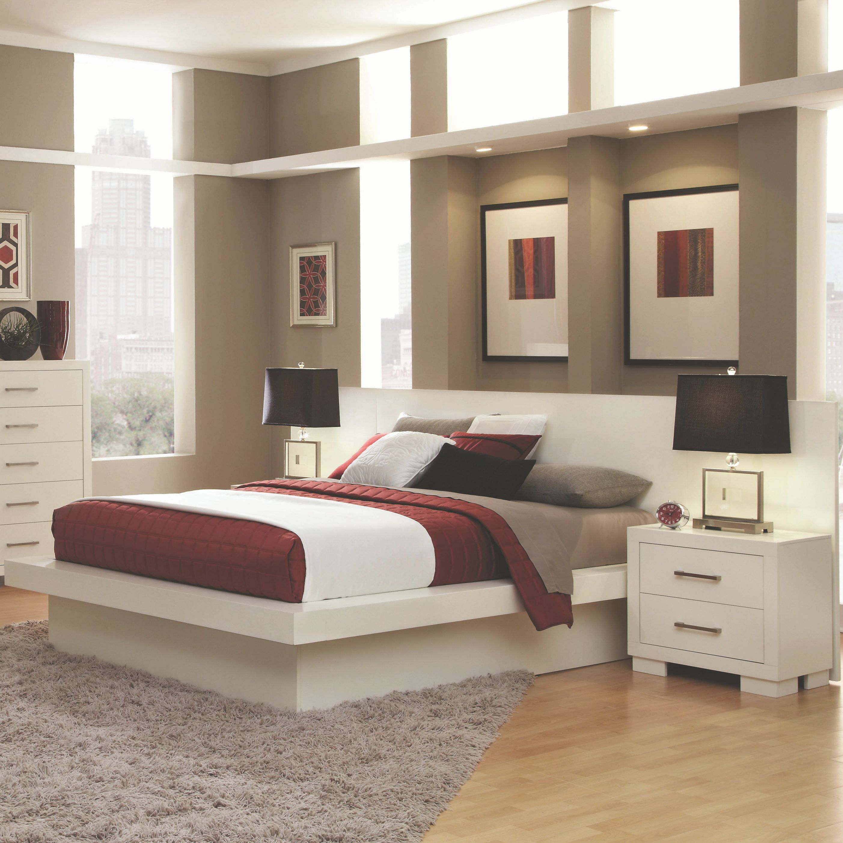 Jessica Queen Pier Platform Bed With Rail Seating And Lightscoaster At  Rotmans throughout Cheap Queen Bedroom Furniture Sets