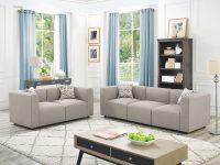 Karol Linen-Like 2 Piece Modular Living Room Sofa Set within Modular Living Room Furniture