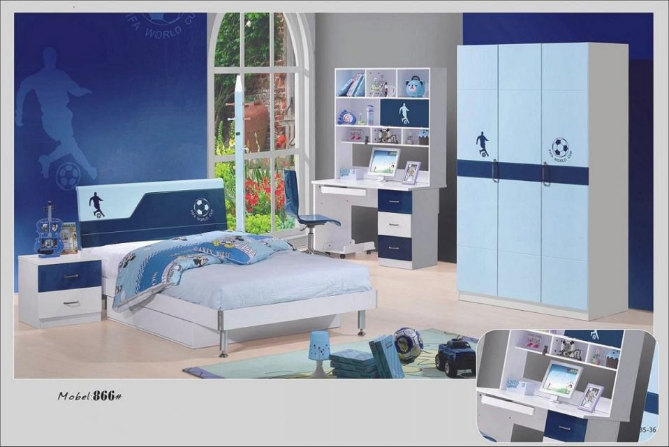 Kid Bedroom Football Pattern And Blue Bedroom Furniture Set with regard to Lovely Boys Bedroom Furniture Sets
