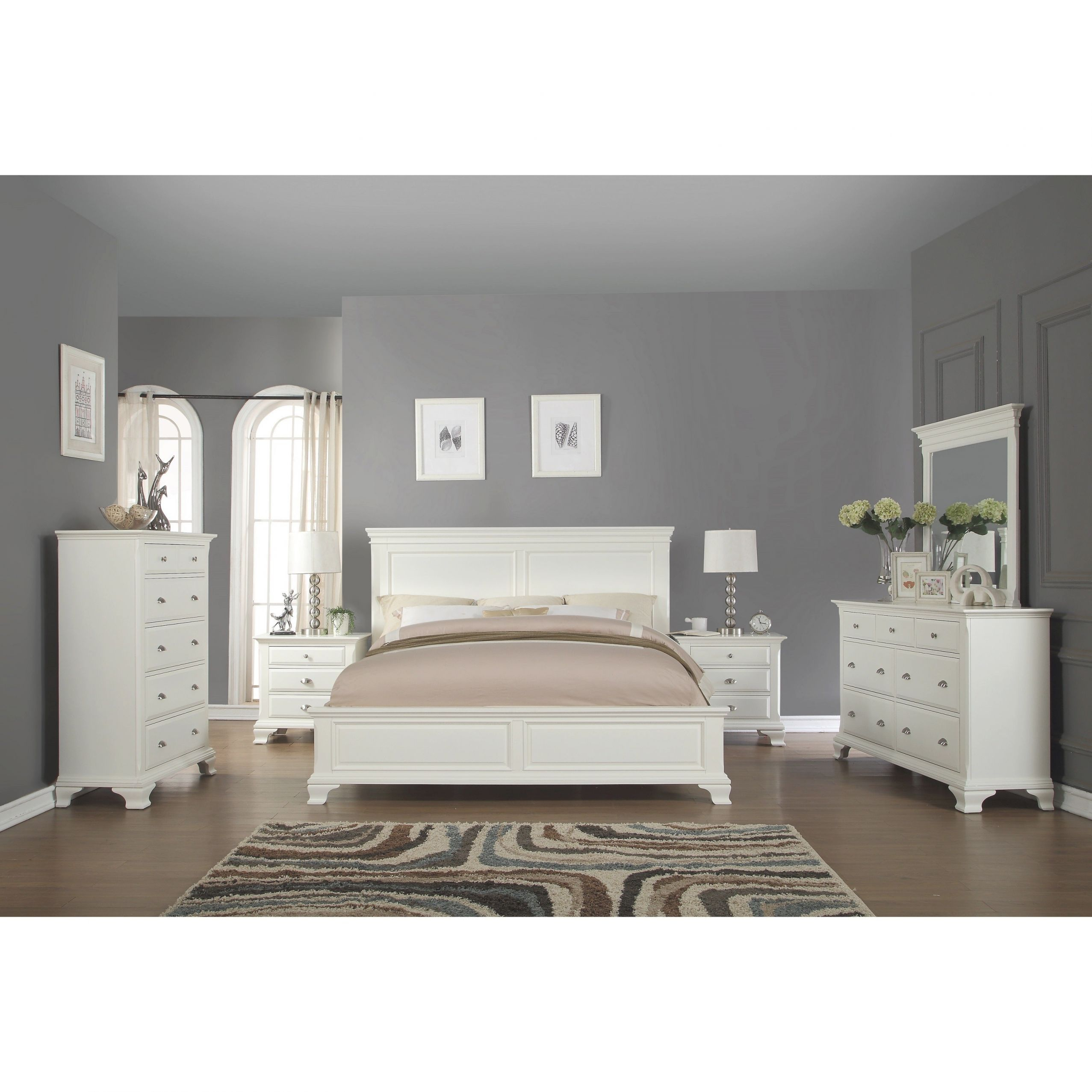 Laveno 012 White Wood Bedroom Furniture Set, Includes King Bed, Dresser, Mirror, 2 Night Stands, And Chest intended for Cheap White Bedroom Furniture Sets