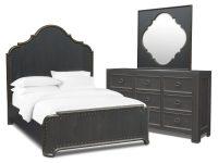 Lennon 5-Piece Bedroom Set With Dresser And Mirror with Elegant Black Bedroom Furniture Set