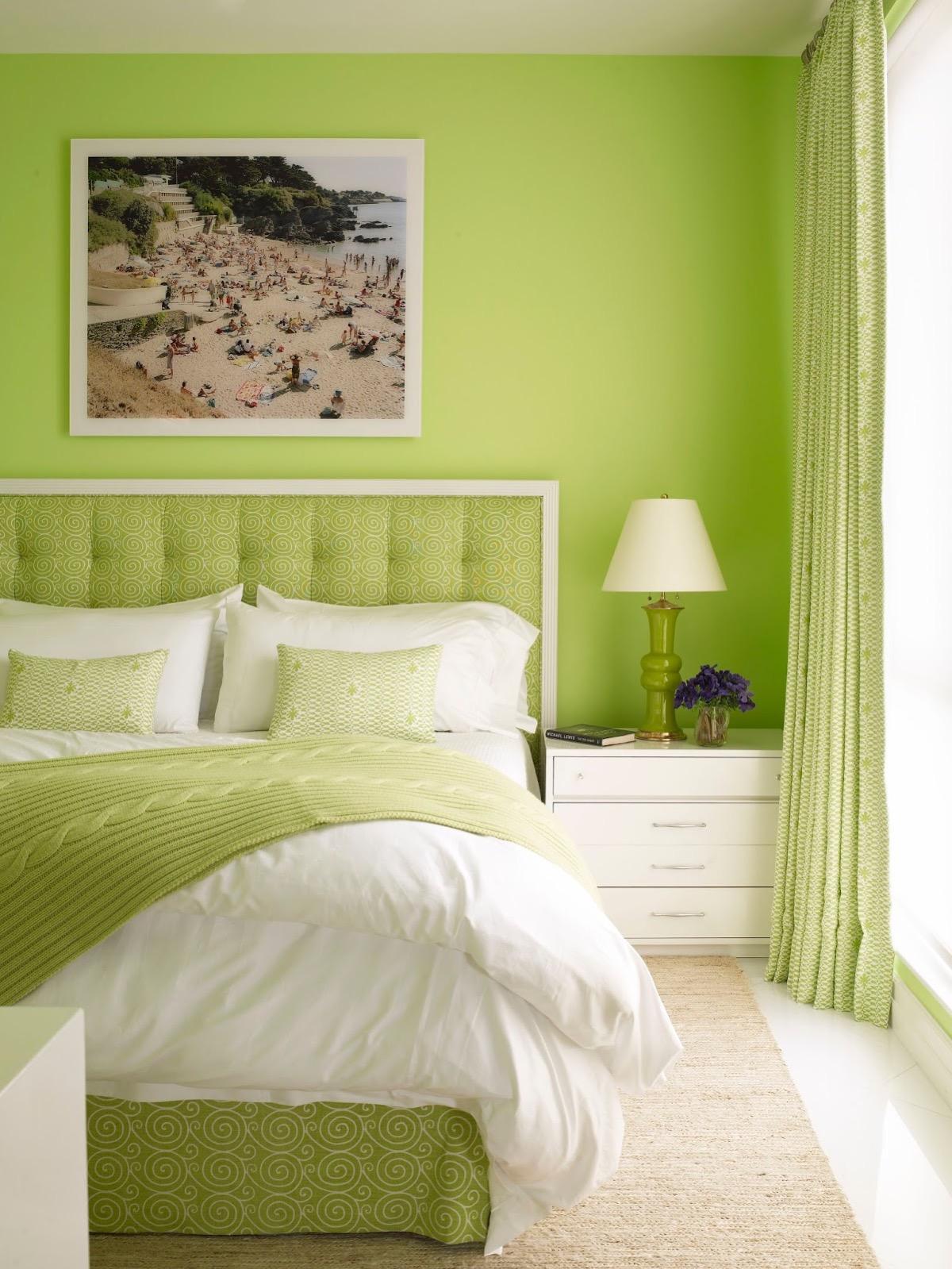 Lime green paint in teen bedroom