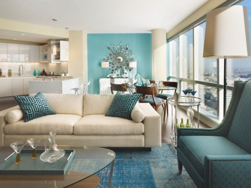 Living Room: Aqua Blue Themed Living Room Decorating With with Elegant Turquoise Living Room Furniture
