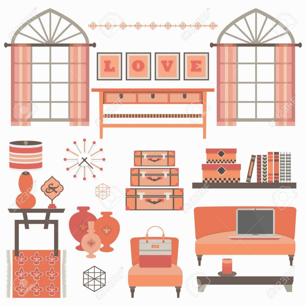 Living Room Furniture And Accessories Set In Coral Red With Windows.. for White Living Room Furniture Sets