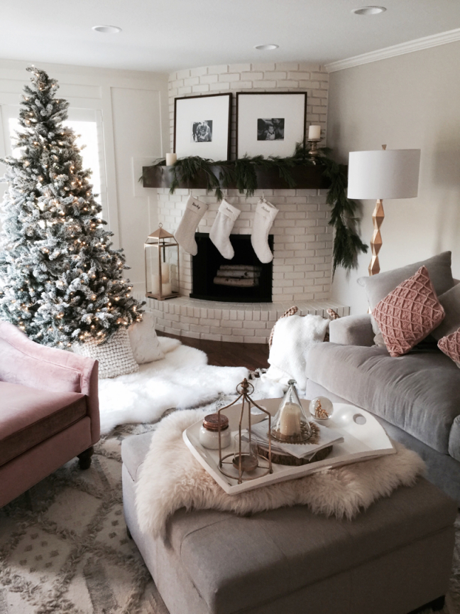 Living Room Inspirations: A Pile Of Pillows Helps The in Beautiful Christmas Decorated Living Rooms Ideas