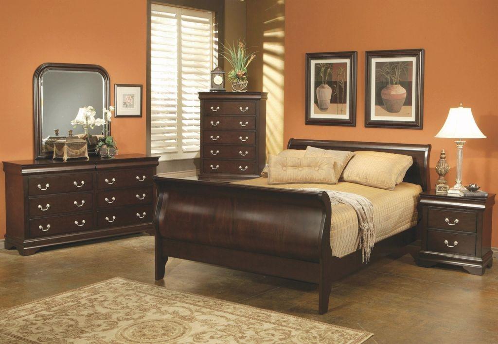 Louis Philippe Queen Cappuccino Bedroom Set in Cheap Queen Bedroom Furniture Sets